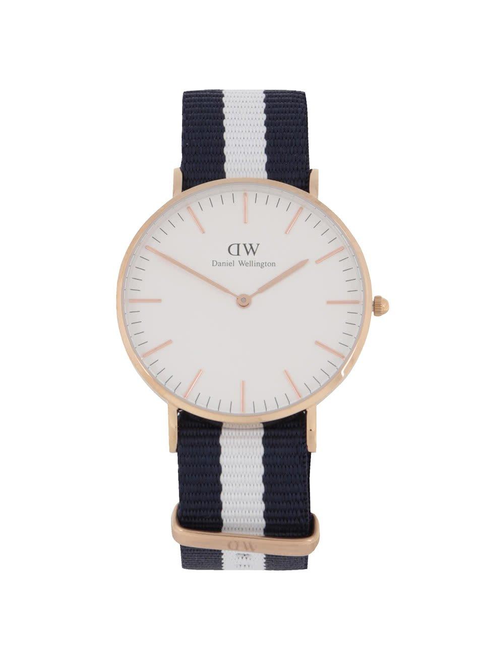 Dámské hodinky ve zlaté barvě s bílo-modrým textilním páskem CLASSIC Glasgow Daniel Wellington