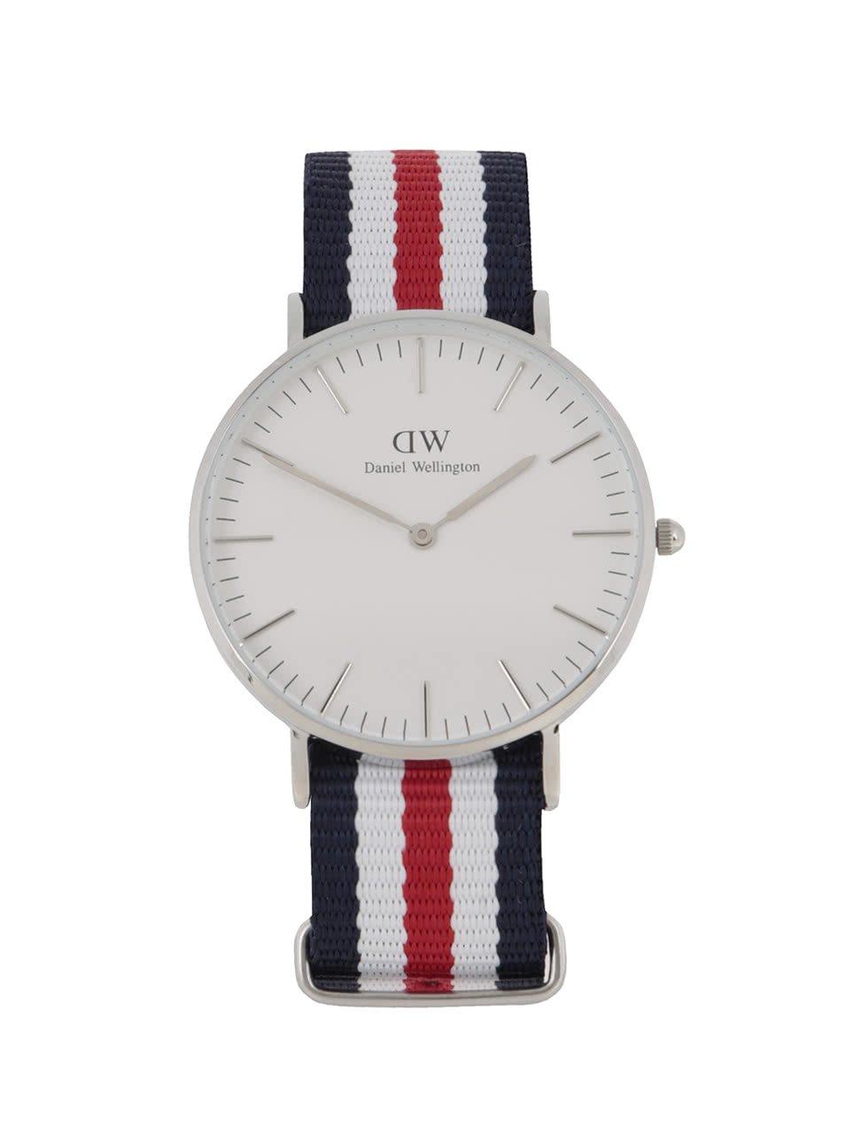 Dámské hodinky ve stříbrné barvě s červeno-bílo-modrým textilním páskem CLASSIC Cantebury Daniel Wellington