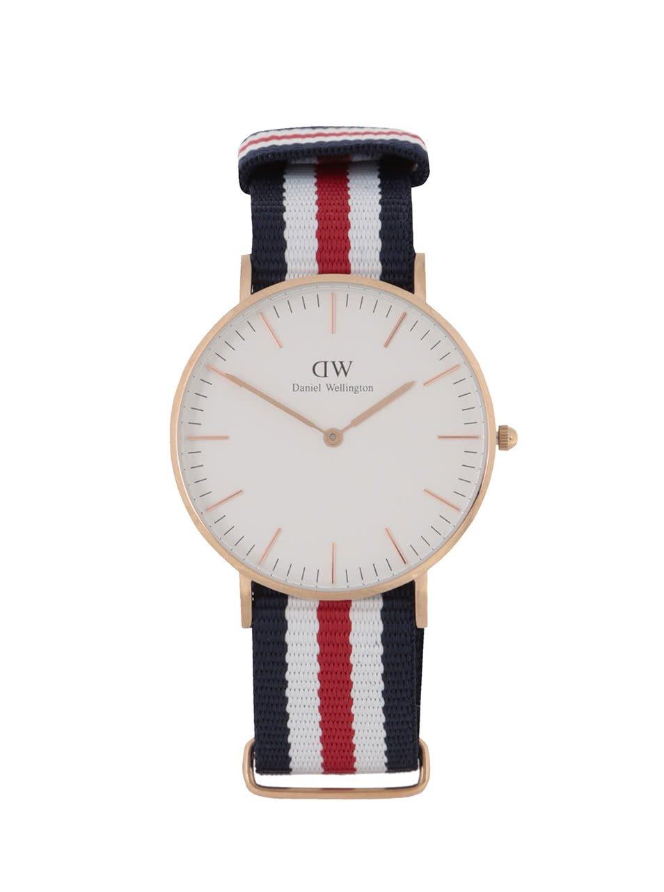 Dámské hodinky ve zlaté barvě s červeno-bílo-modrým textilním páskem CLASSIC Cantebury Daniel Wellington