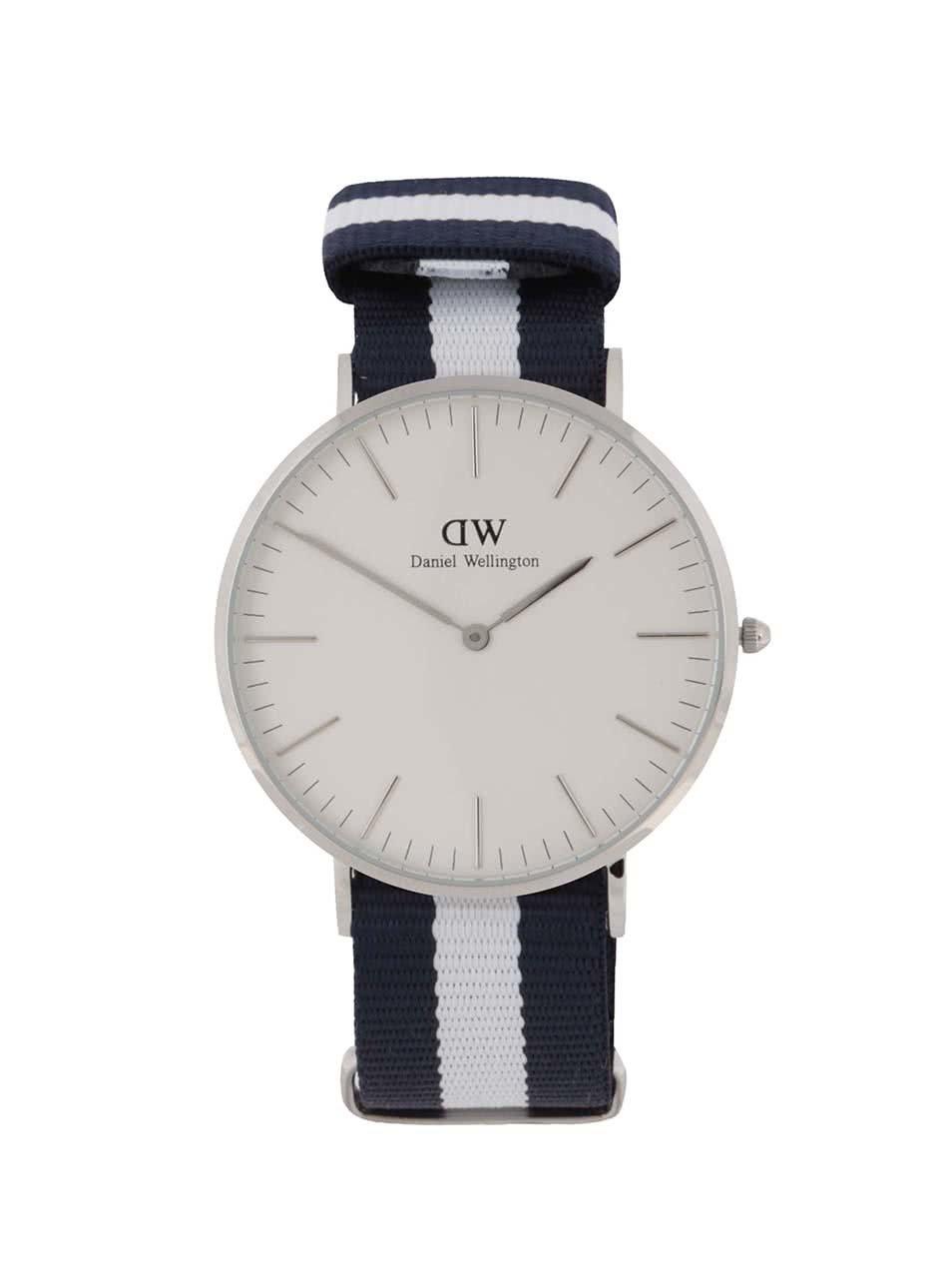 Dámské hodinky ve stříbrné barvě s bílo-modrým textilním páskem CLASSIC Glasgow Daniel Wellington