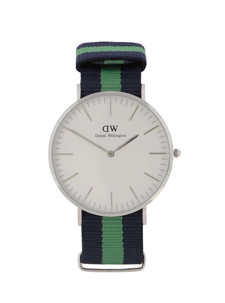 Pánské hodinky ve stříbrné barvě se zeleno-modrým textilním páskem CLASSIC Warwick Daniel Wellington