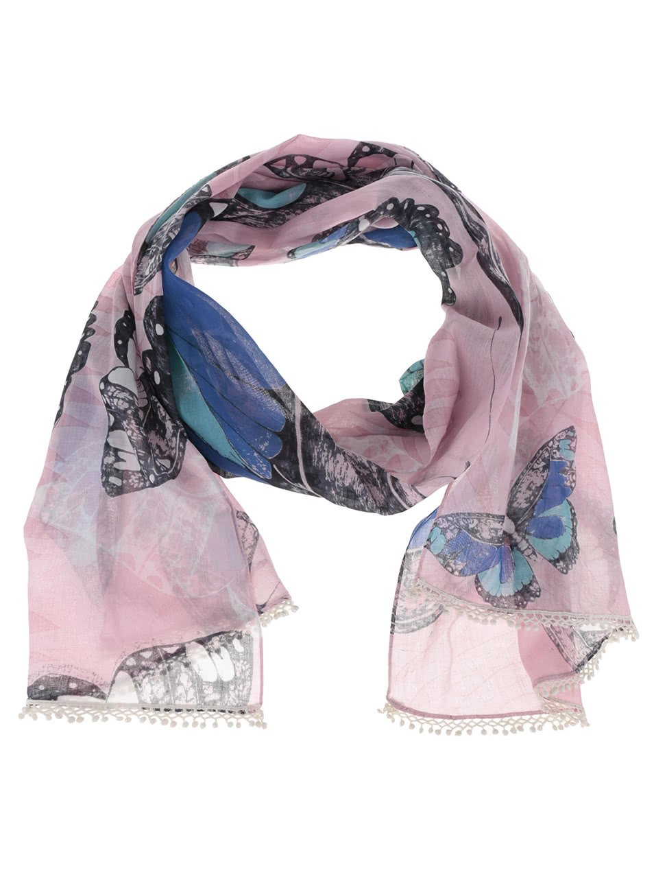 Modro-růžový šátek s potiskem motýlů a ozdobnými lemy Disaster Into the wild