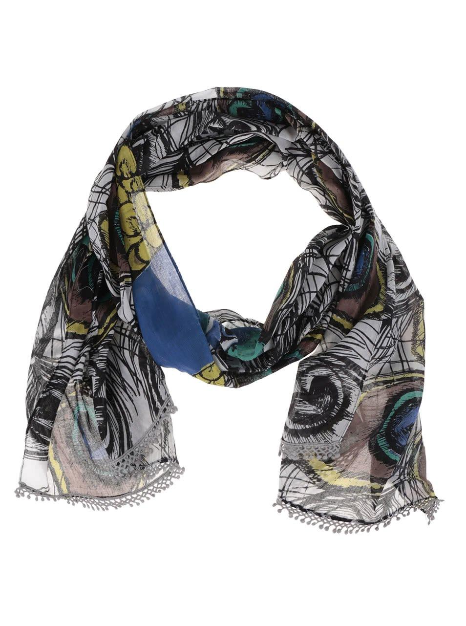 Hnědo-krémový šátek s potiskem pavích per a ozdobnými lemy Disaster Into the wild
