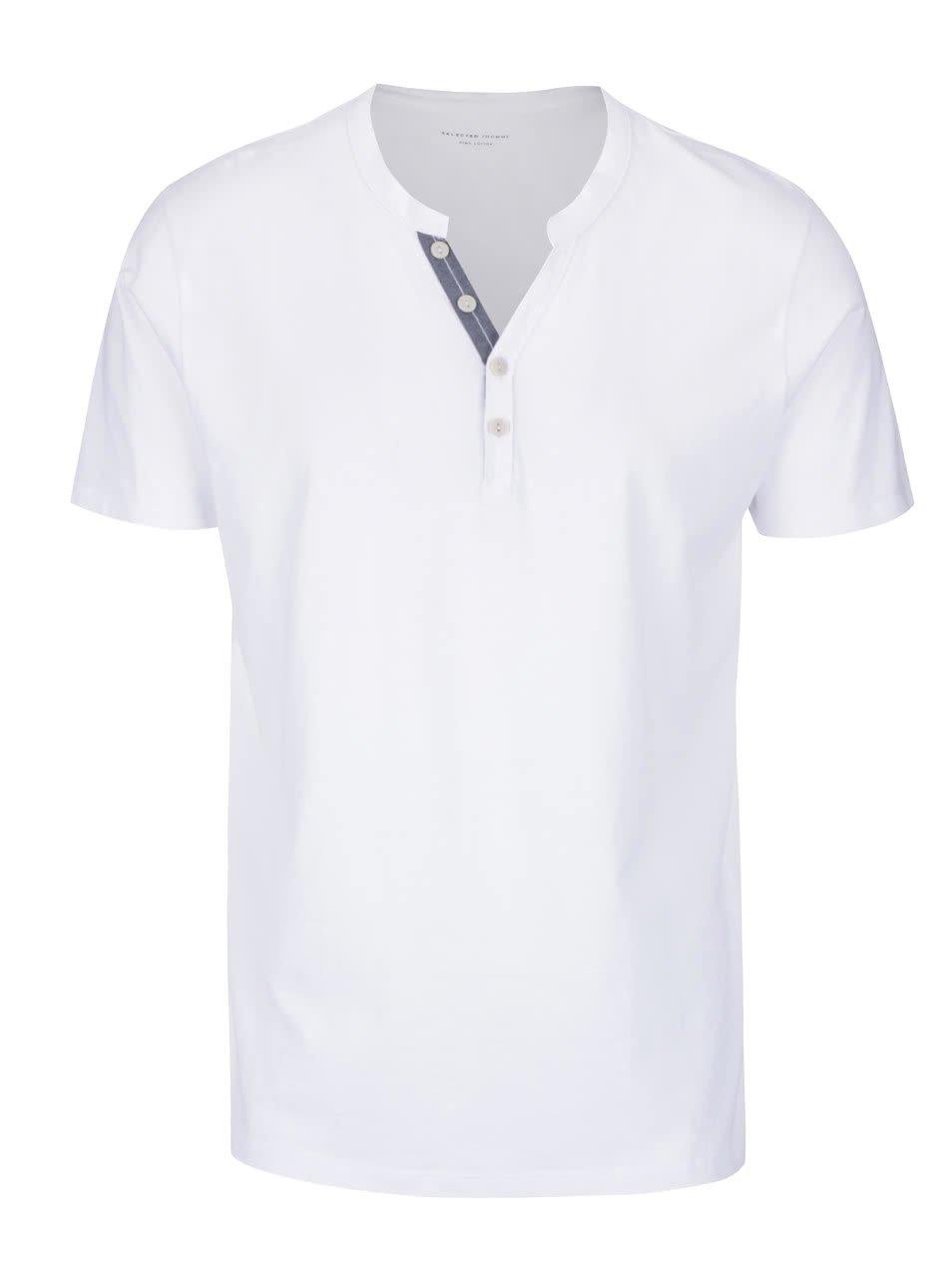 Bílé triko s knoflíky Selected Homme Pima
