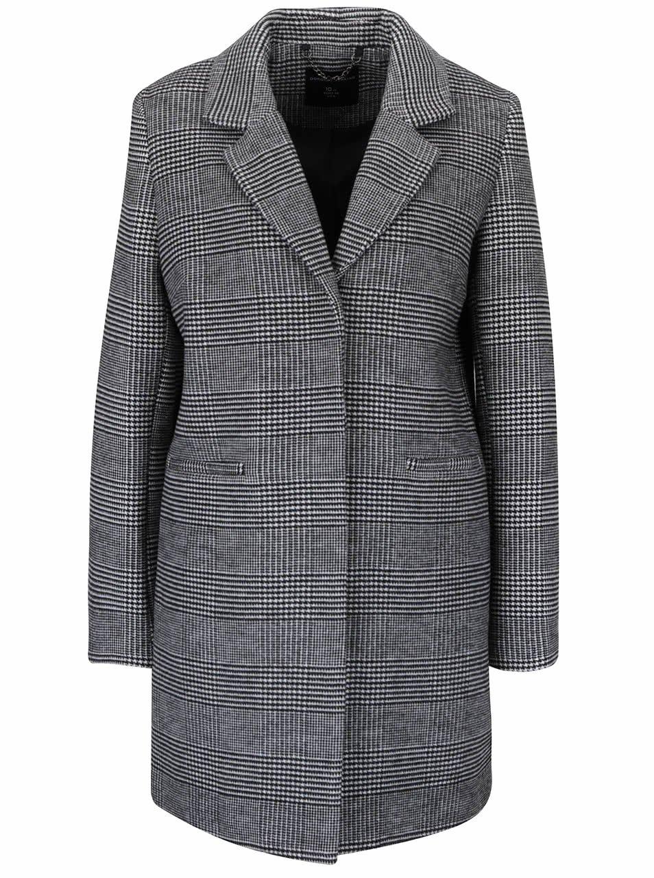 Bílo-černý károvaný kabát Dorothy Perkins