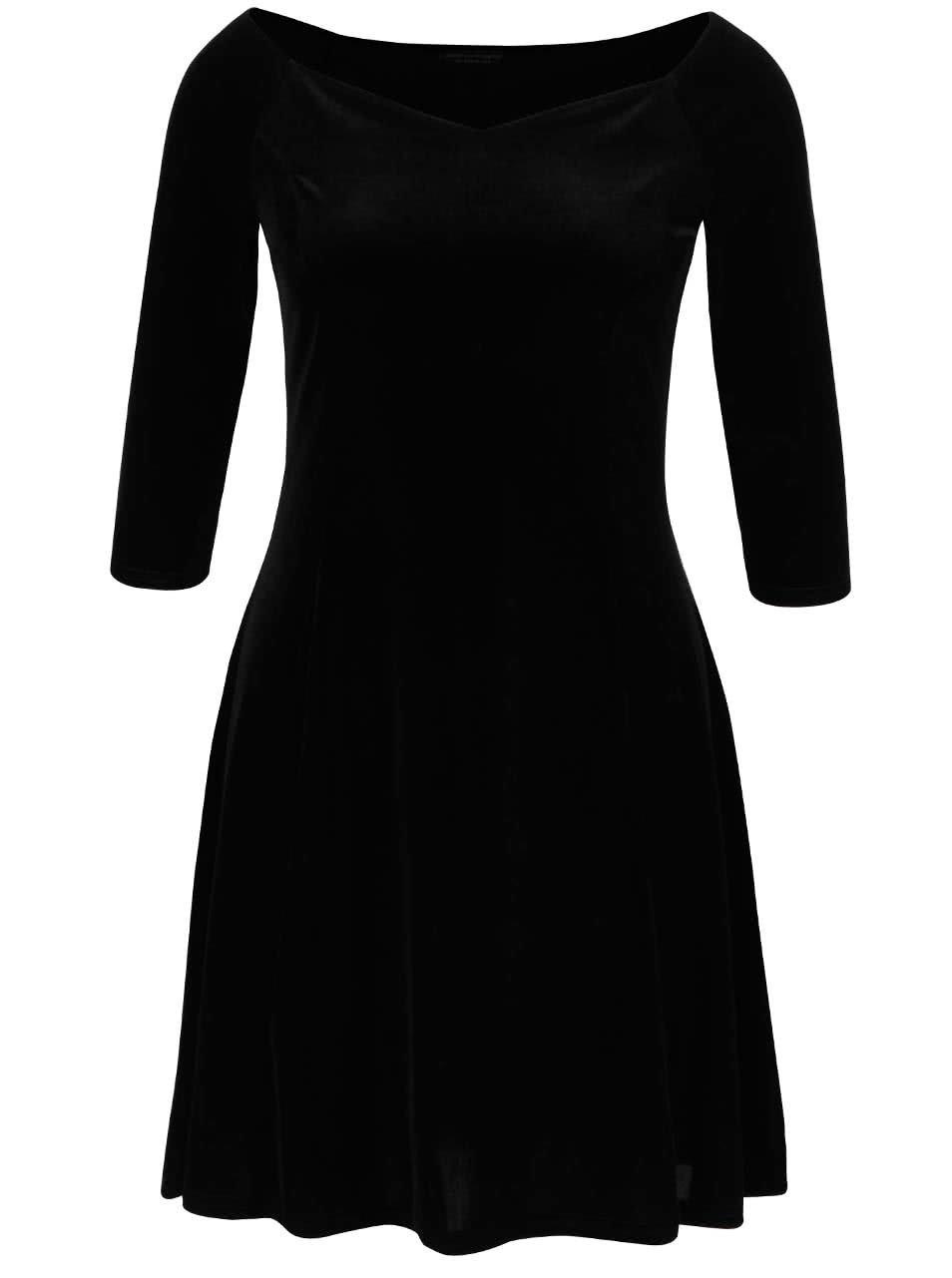 Černé sametové šaty s 3/4 rukávy Dorothy Perkins