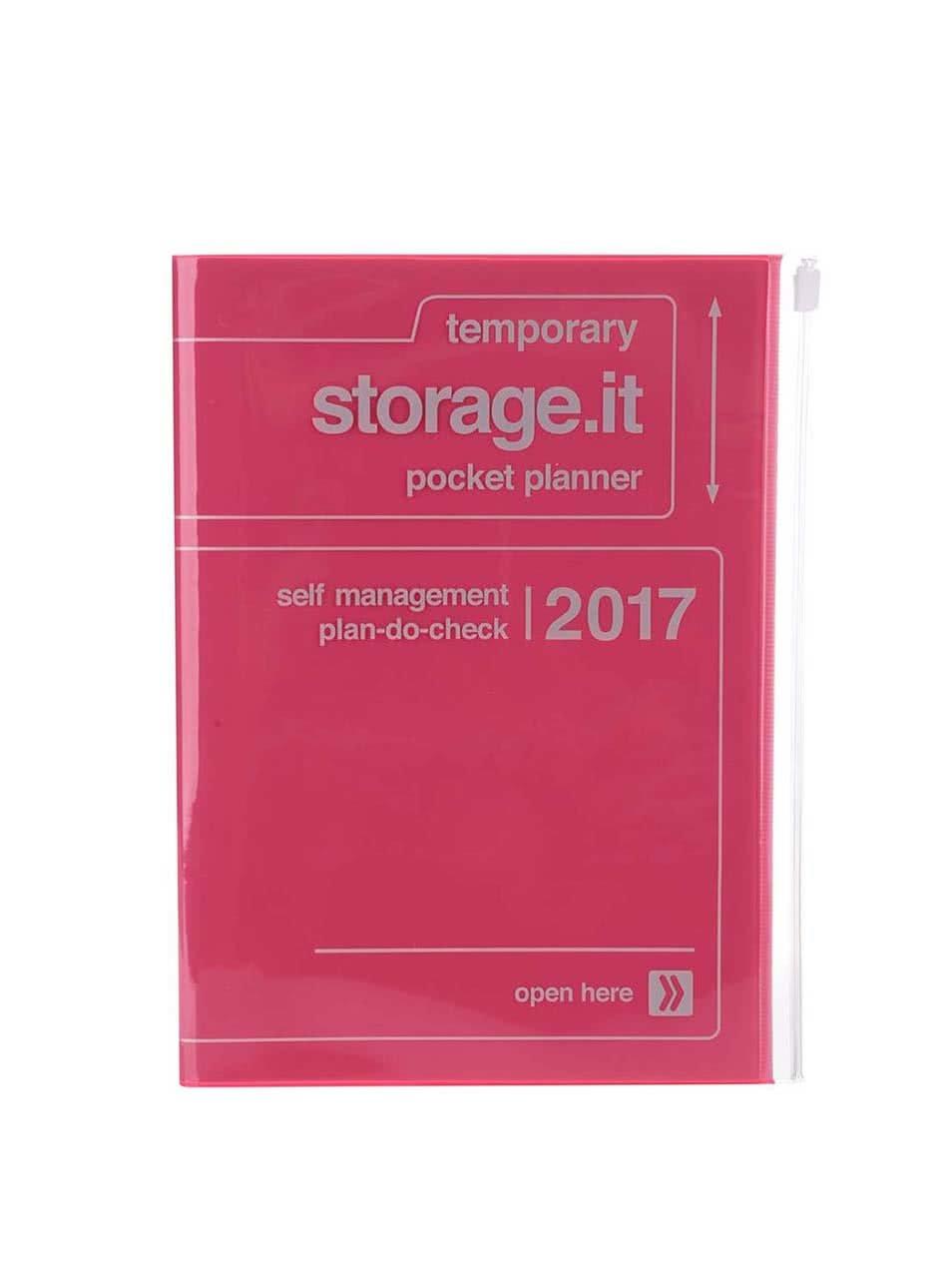 Neonově růžový diář 2017 A5 Mark's STORAGE IT.