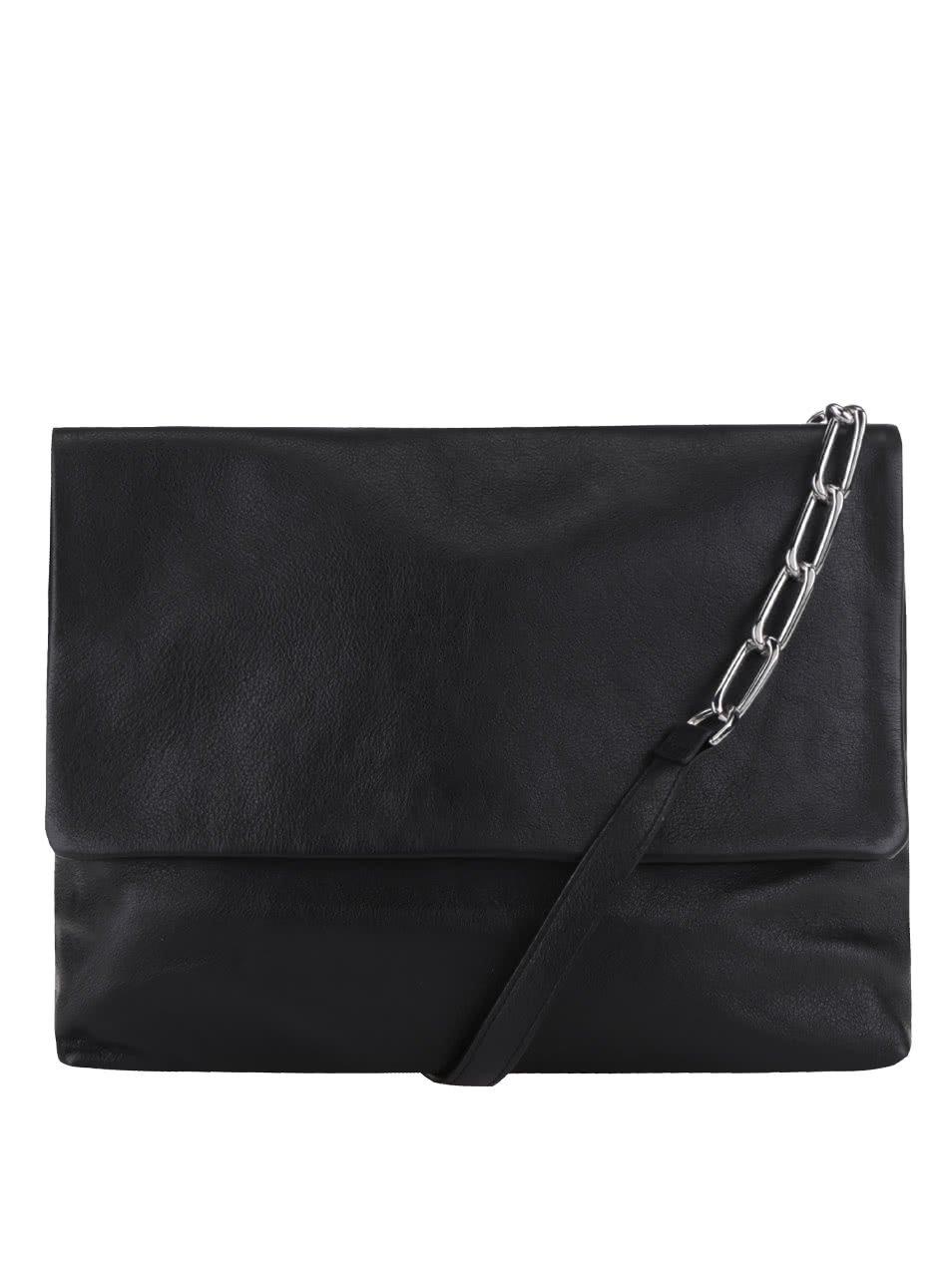 Černá kožená crossbody kabelka s ozdobným popruhem No. 83 Vagabond