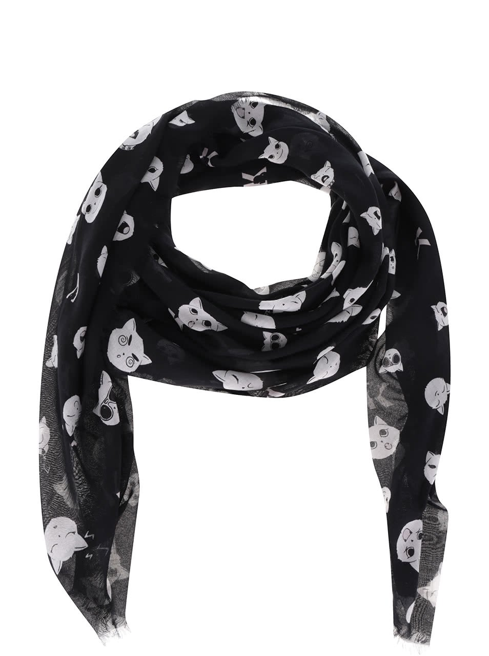 Krémovo-černý šátek s motivem koček KARL LAGERFELD