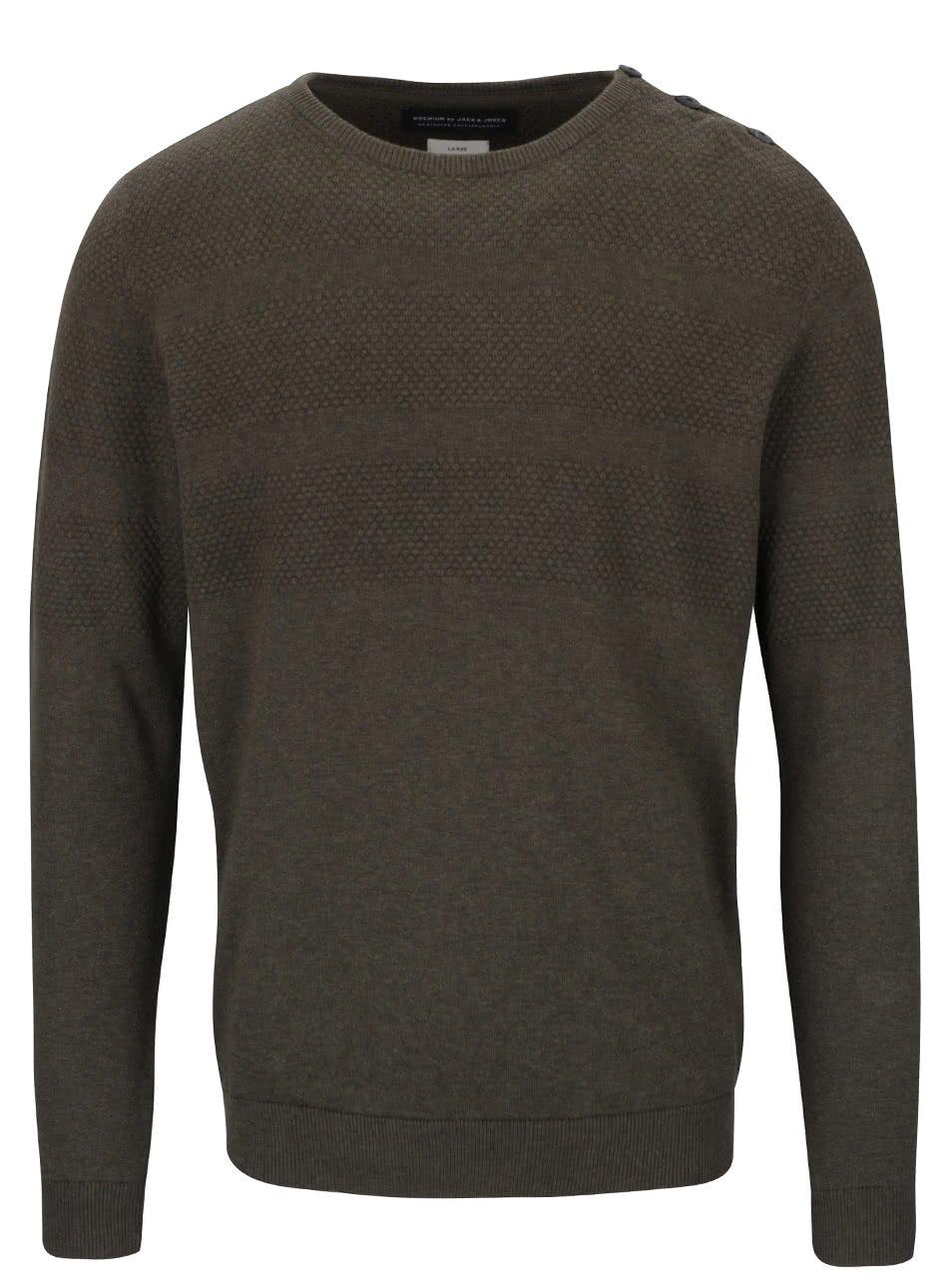 Khaki svetr s knoflíky Jack & Jones