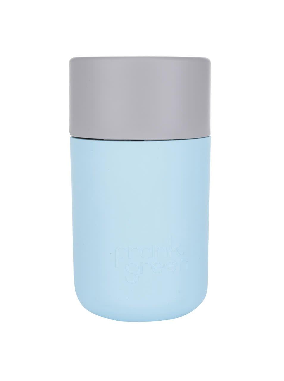 Světle modrý SmartCup s šedým víčkem Frank Green 340 ml