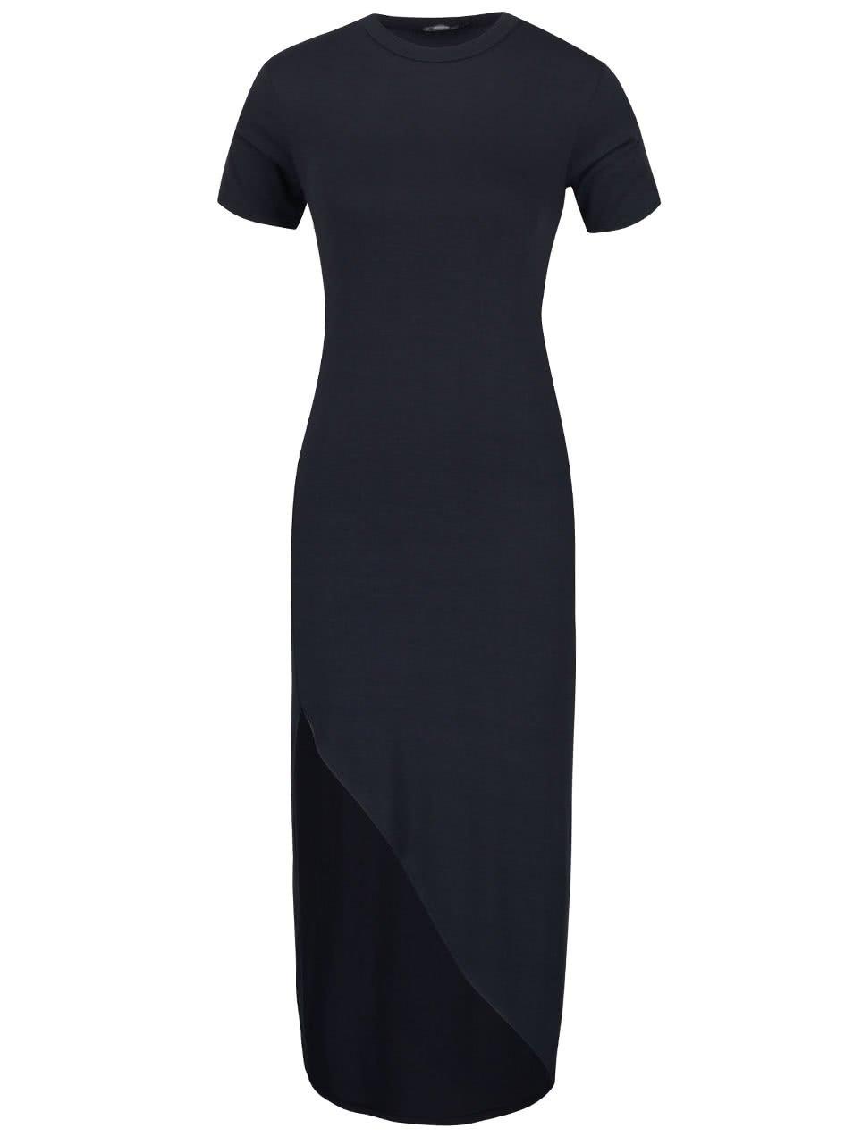 Tmavě modré dlouhé asymetrické šaty s krátkým rukávem ZOOT
