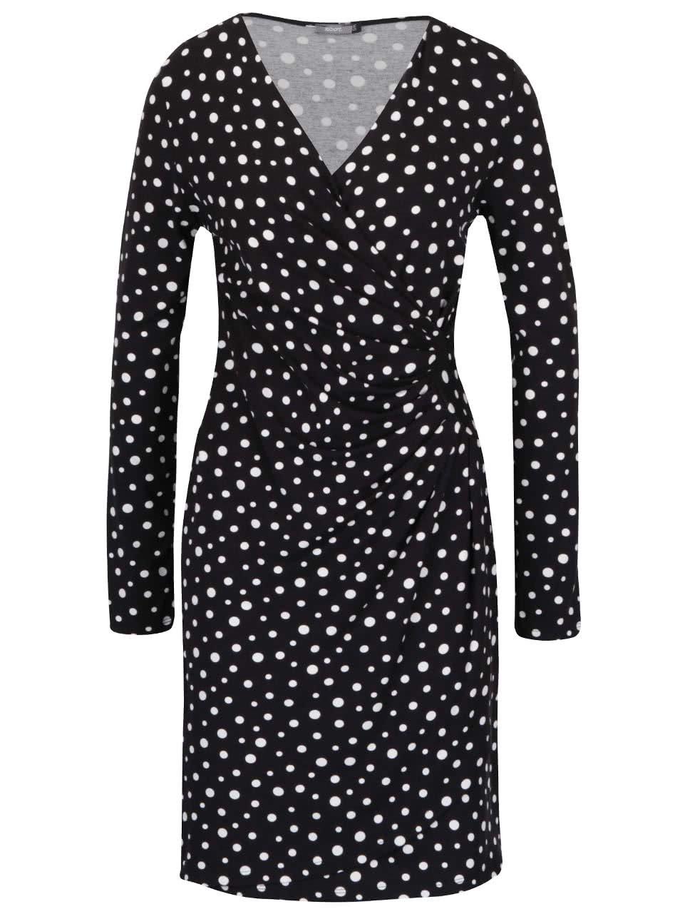 Černé puntíkované šaty s překládaným výstřihem ZOOT