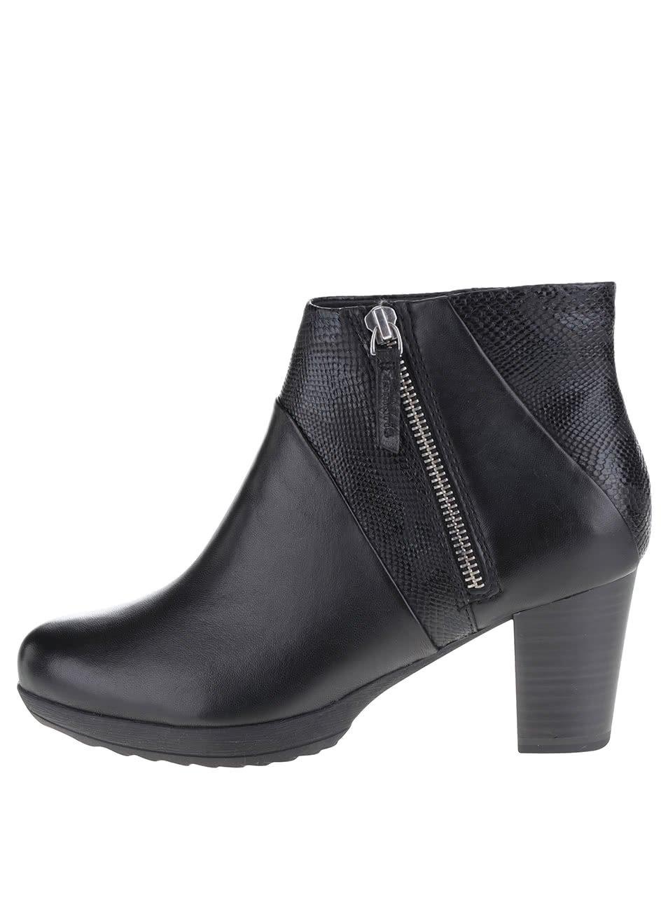 Černé vzorované kotníkové boty na podpatku Tamaris