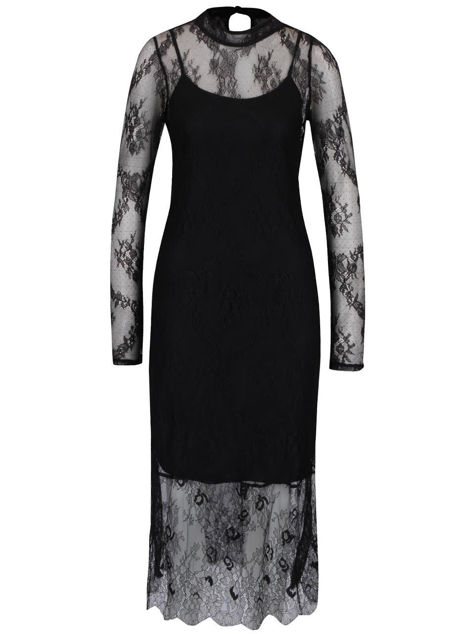 Černé krajkové šaty Vero Moda Yes Lace