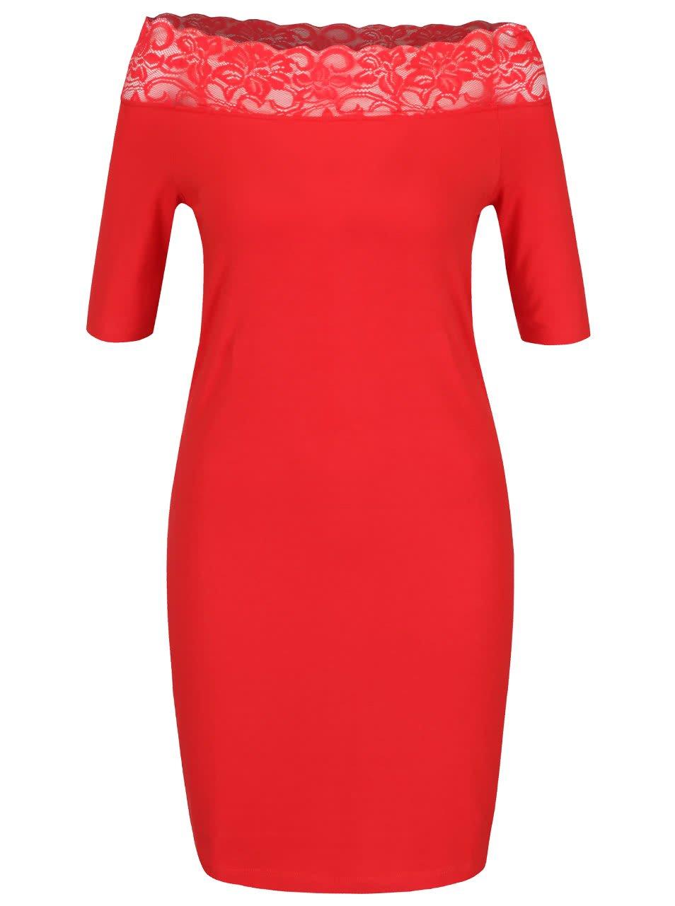 Červené šaty s krajkovým lemem Vero Moda Lacy