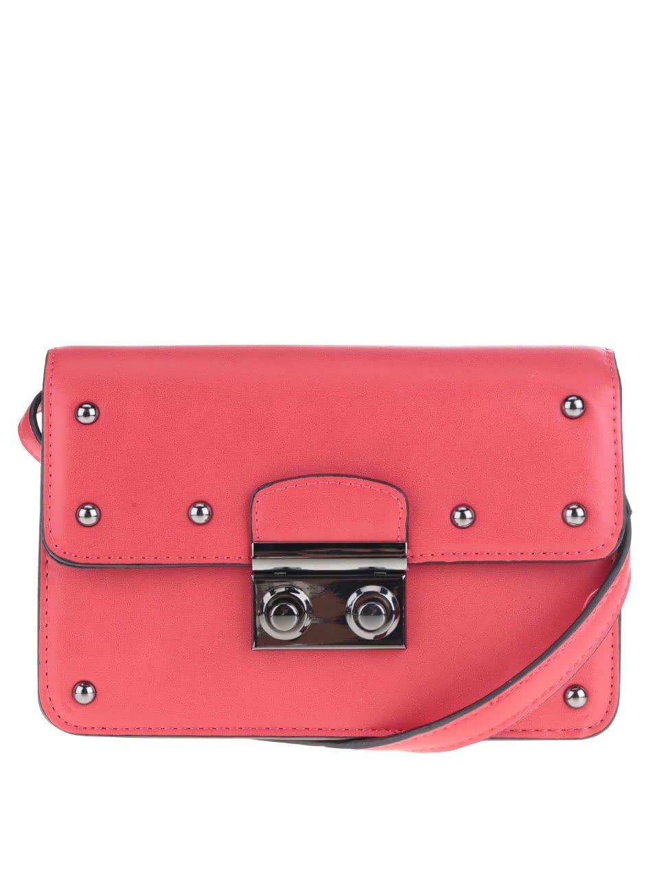 Červená crossbody kabelka s cvočky Pieces Helene