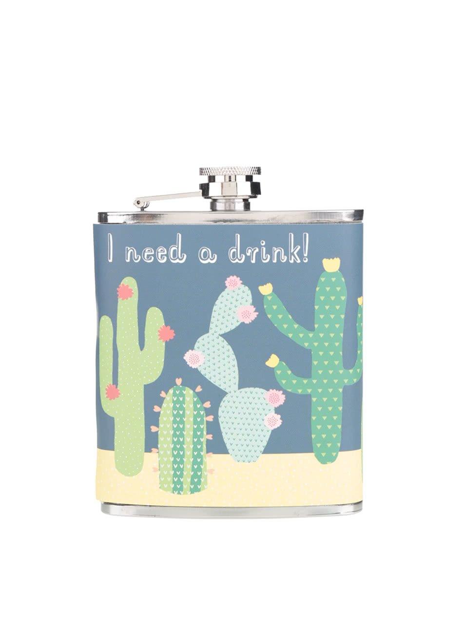 Tmavě modrá placatka s kaktusy Sass & Belle I need a drink