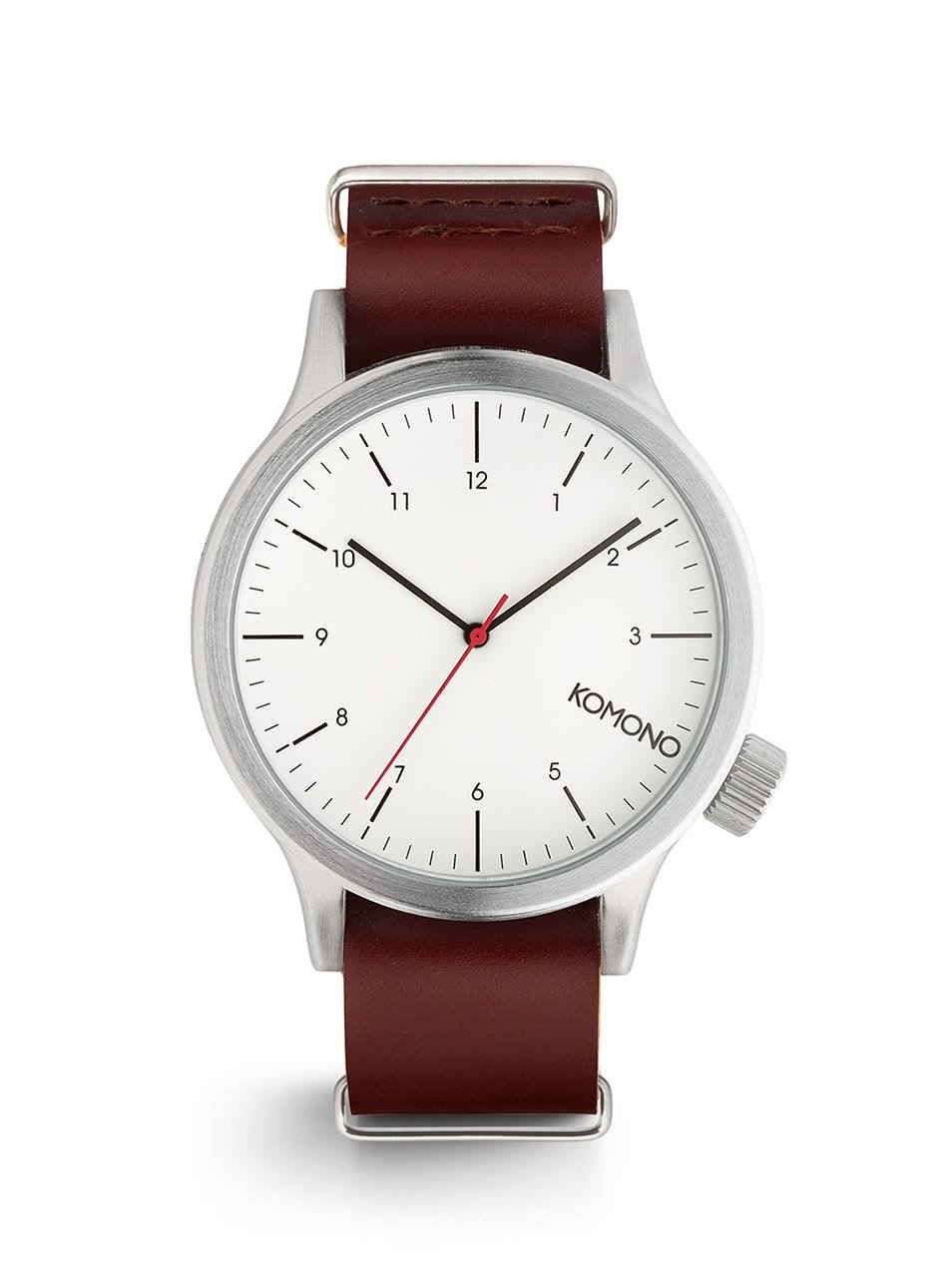 Pánské hodinky ve stříbrné barvě s tmavě hnědým koženým páskem Komono Magnus