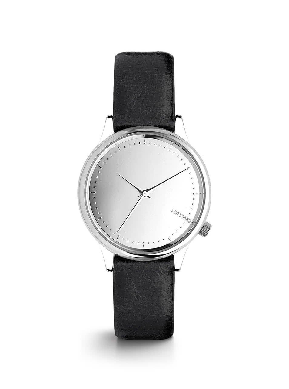 Dámské hodinky ve stříbrné barvě s černým koženým páskem Komono Estelle Mirror