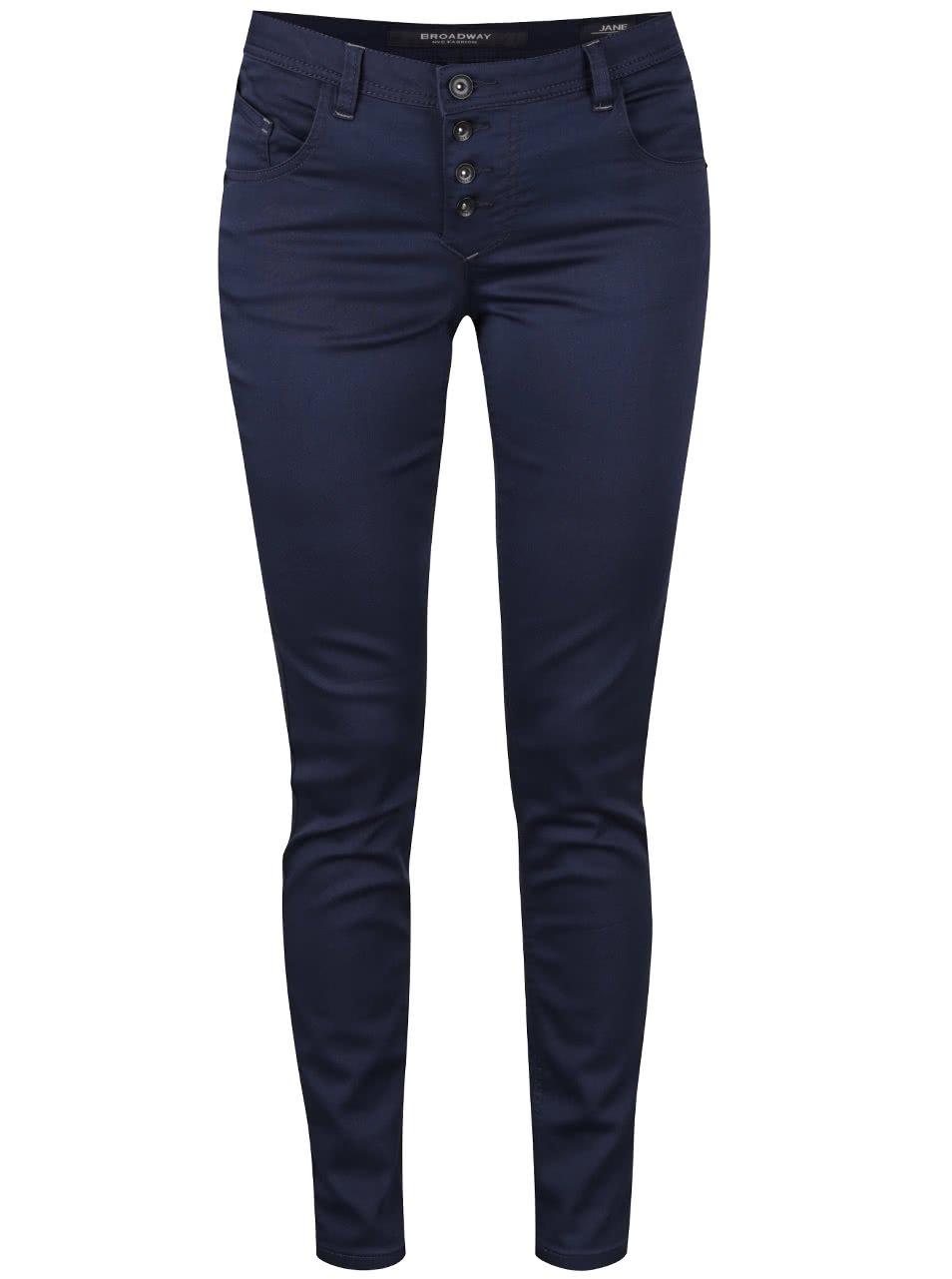 Modré dámské skinny kalhoty se zapínáním na knoflíky Broadway Jane