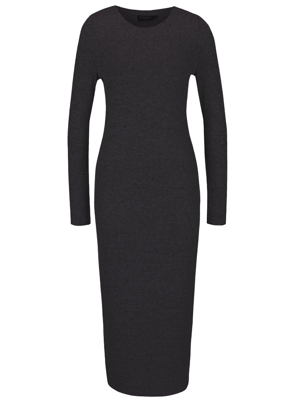 Šedé dámské delší svetrové šaty s dlouhým rukávem Broadway Serena