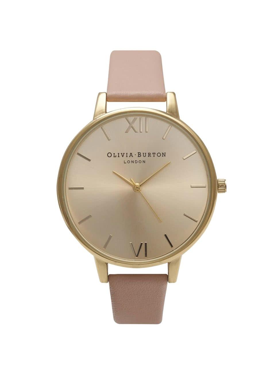 Růžové hodinky s ciferníkem ve zlaté barvě Olivia Burton