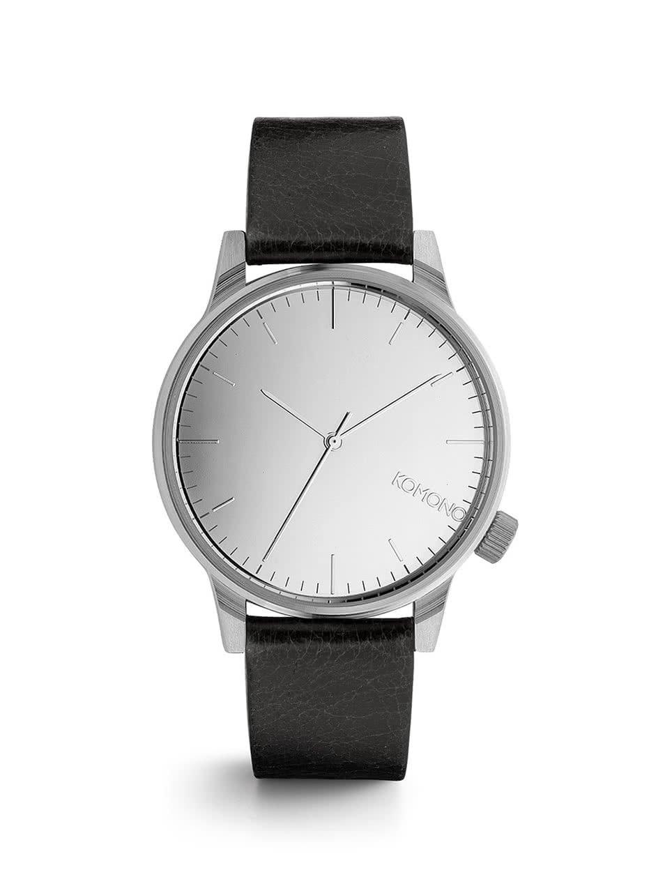 Unisex hodinky v striebornej farbe s koženým remienkom Komono Winston Mirror