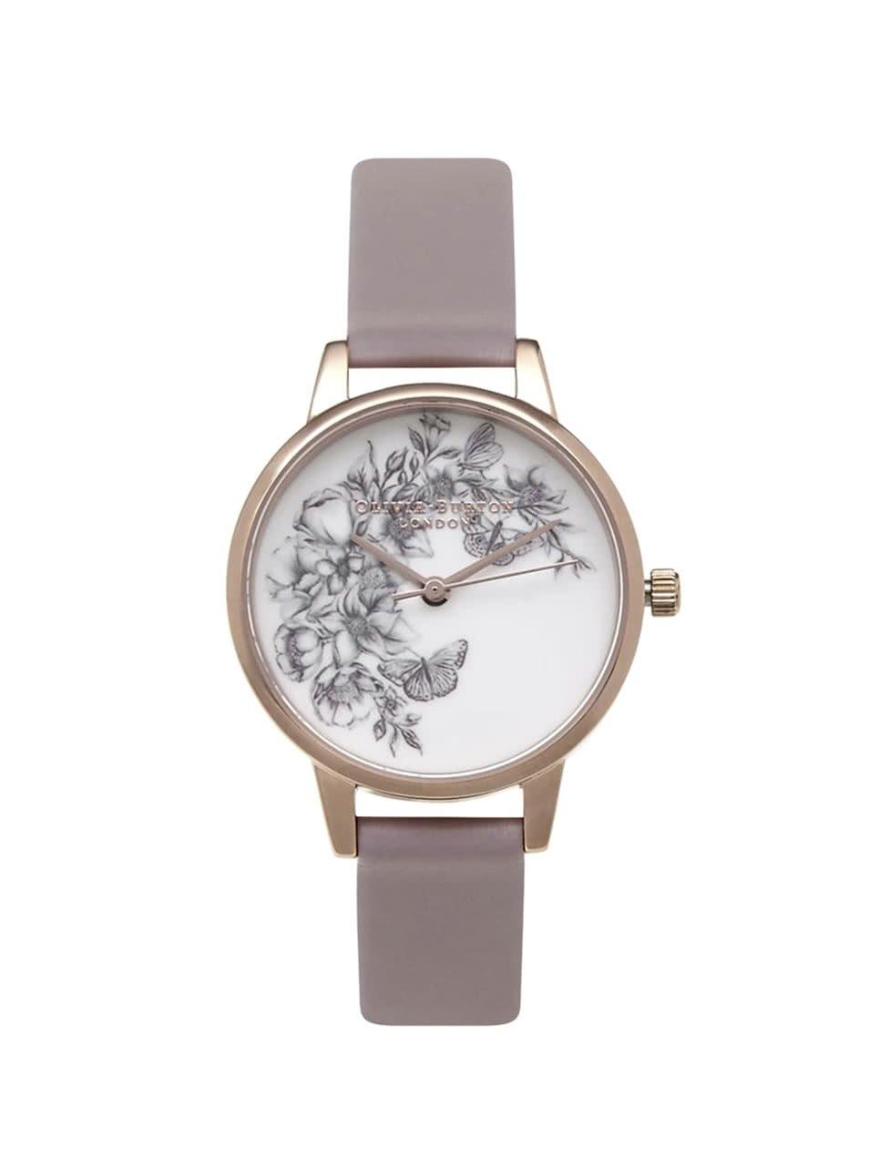 Šedé hodinky s květovaným ciferníkem ve zlaté barvě Olivia Burton