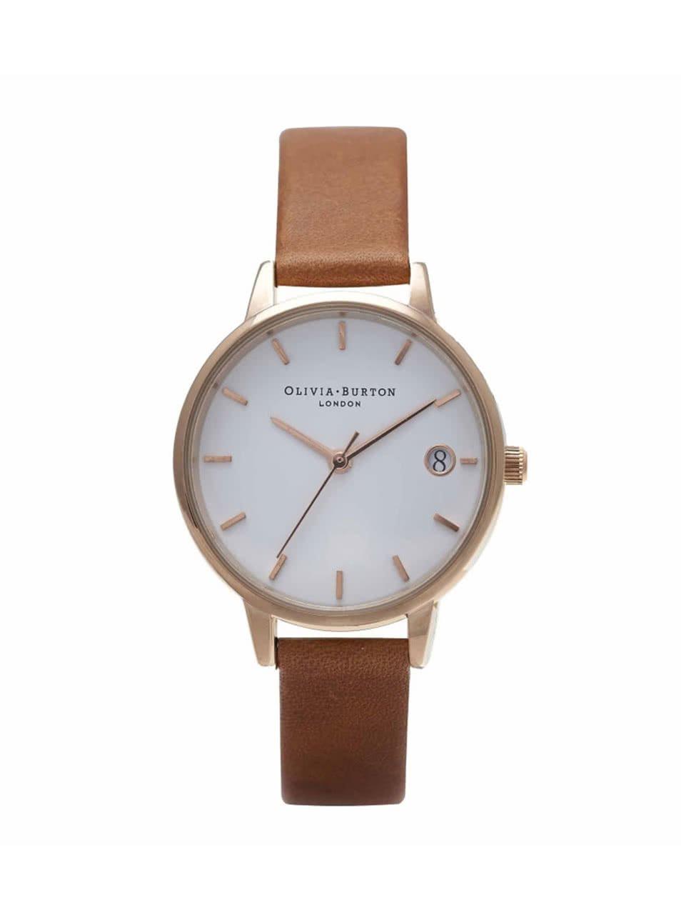 Hnědé hodinky s bílým ciferníkem Olivia Burton