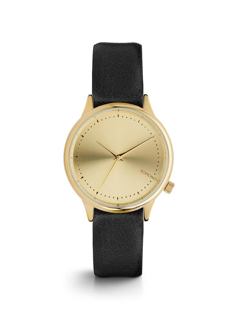 Černé dámské hodinky s ciferníkem ve zlaté barvě Komono Estelle Classic