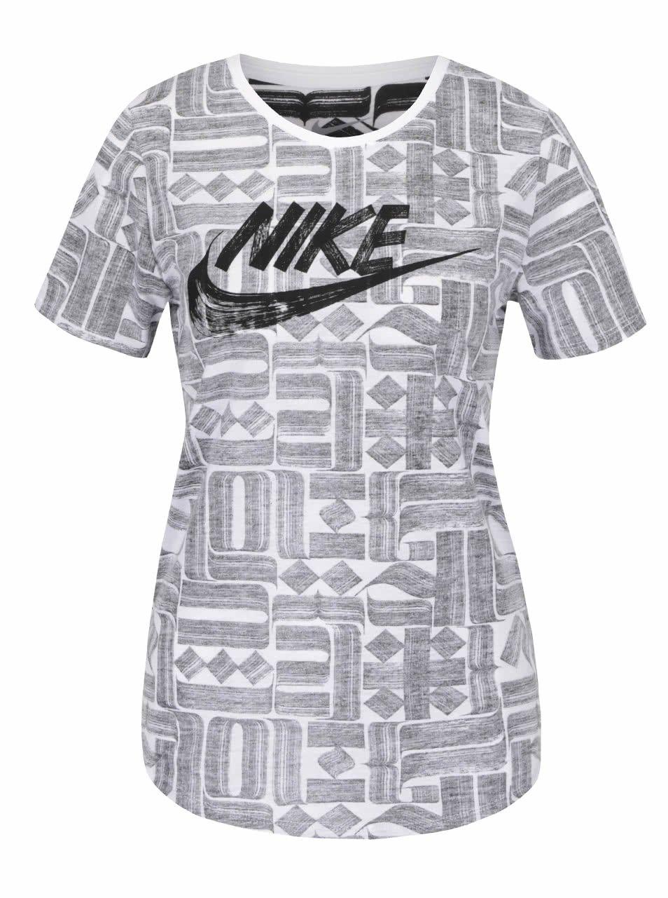 Šedo-krémové dámské tričko s krátkým rukávem Nike