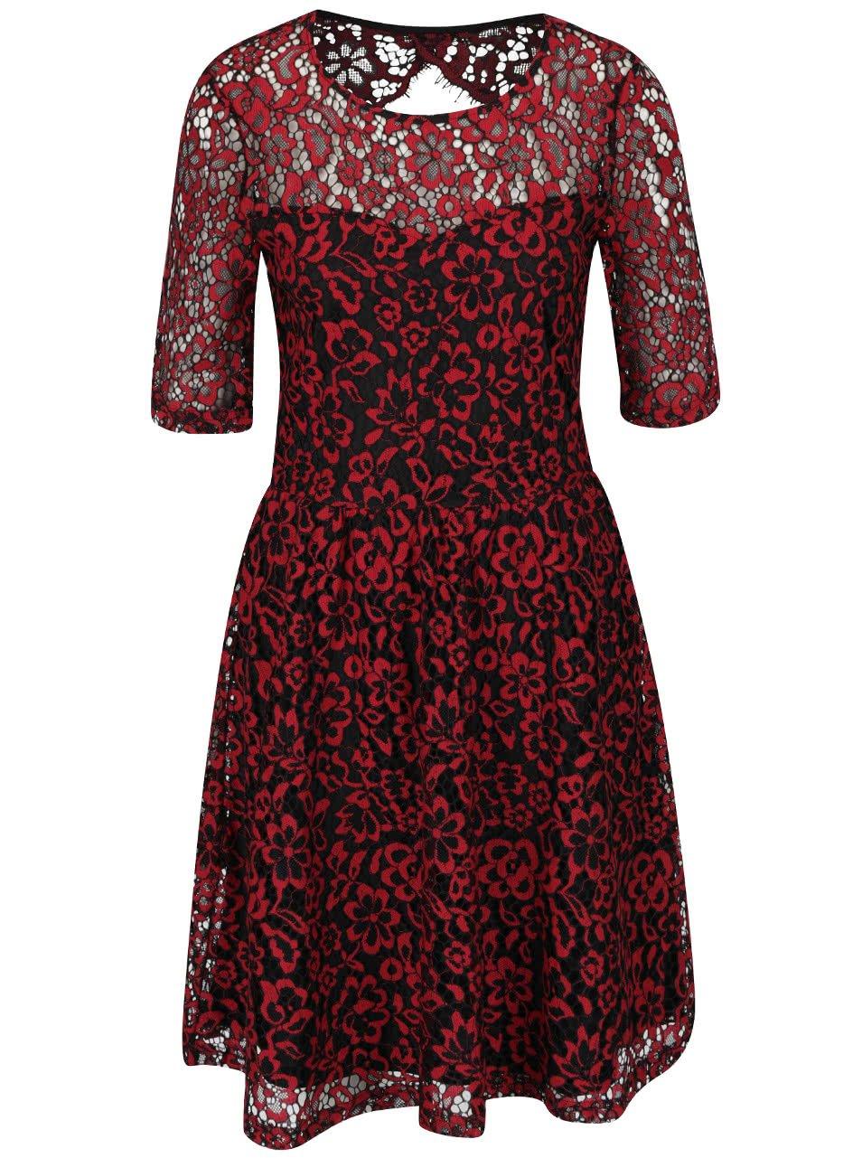 Černo-červené krajkové šaty Vero Moda Carrie