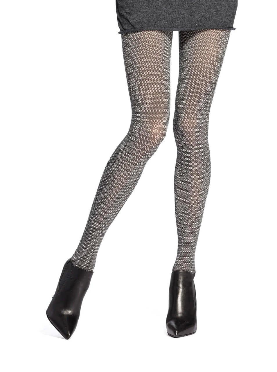 Černo-bílé punčochy s drobným puntíkovaným vzorem Oroblu Rhianna