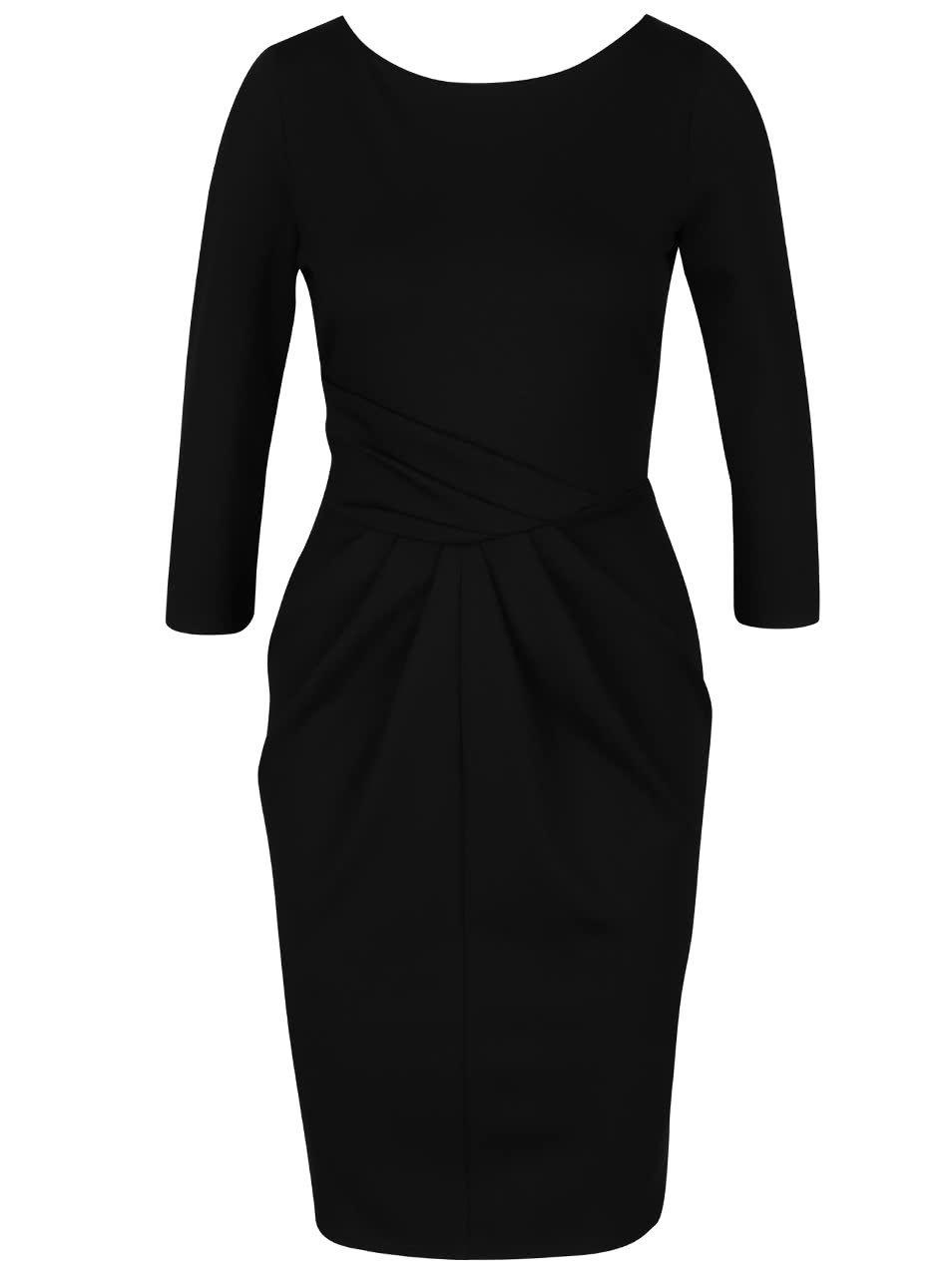 Černé pouzdrové šaty s 3/4 rukávem Closet