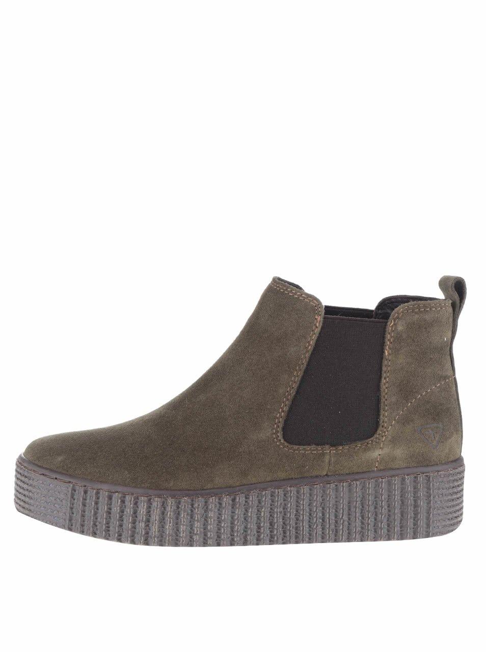 Khaki semišové chelsea boty platformě Tamaris