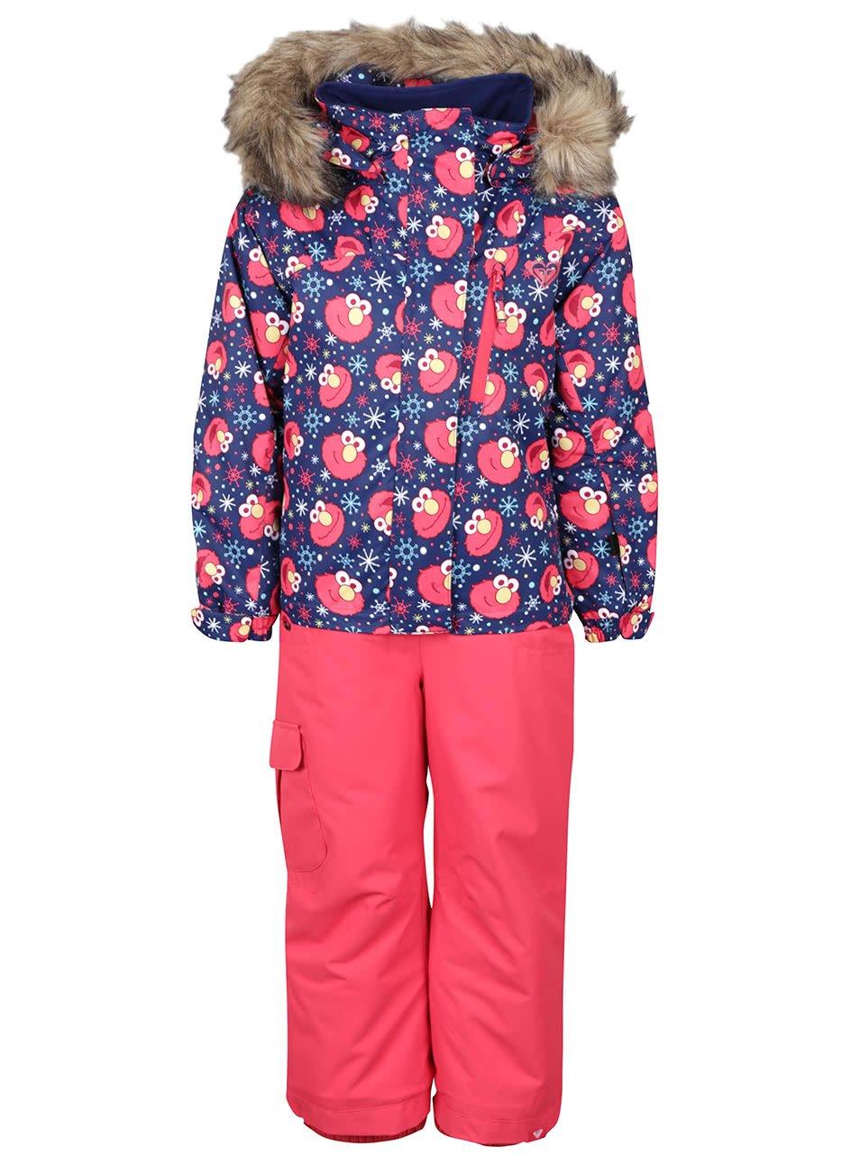 Růžová holčičí zimní kombinéza se vzorem Roxy