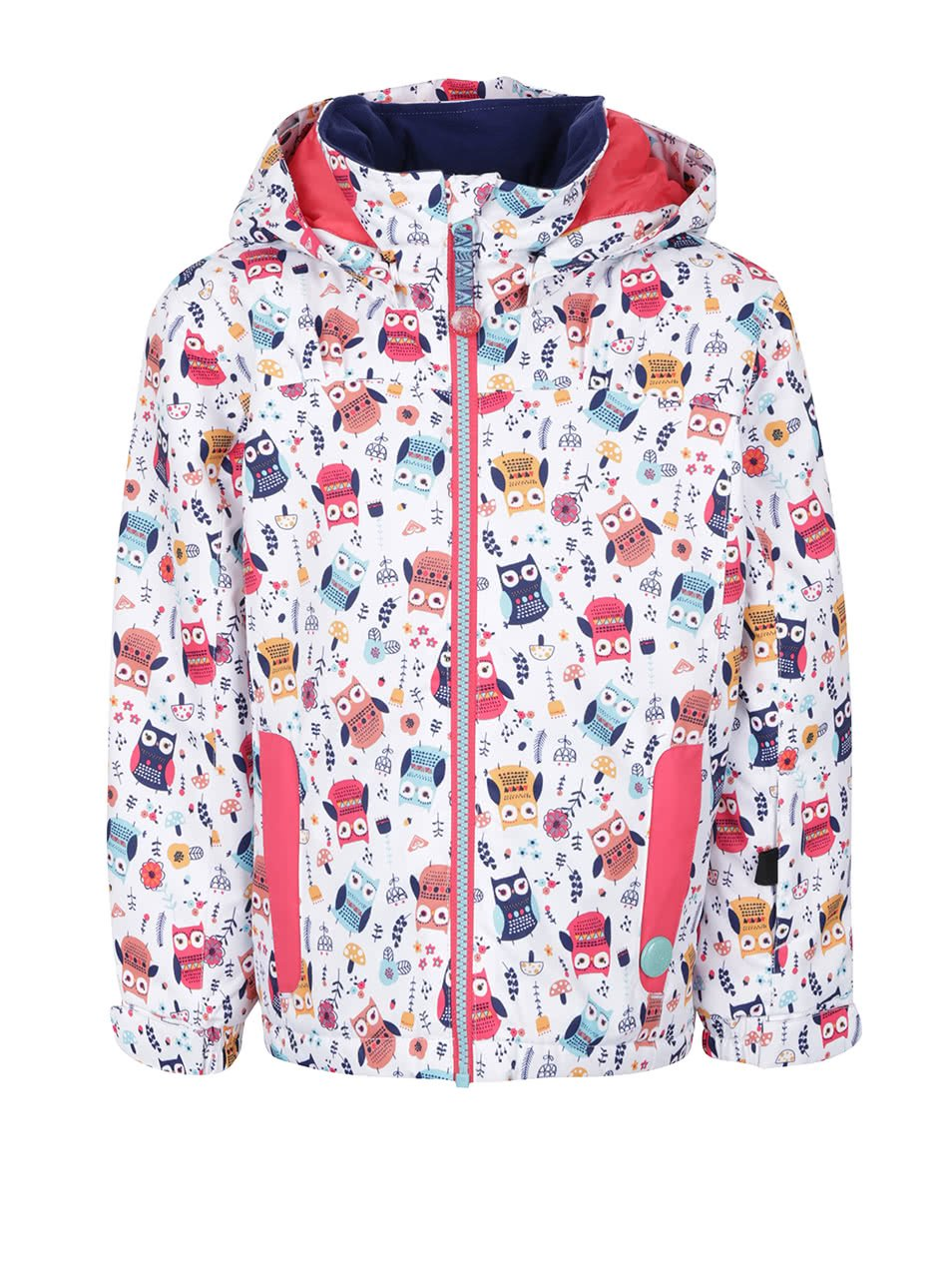 Bílá holčičí zimní bunda s potiskem sov Roxy