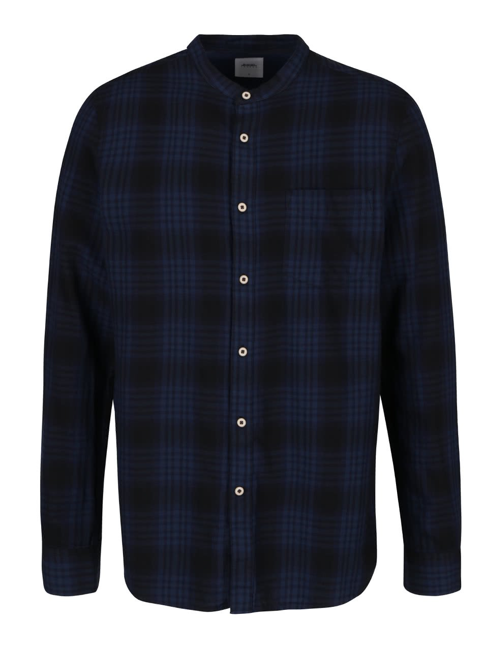 Tmavě modrá kostkovaná košile bez límečku Burton Menswear London