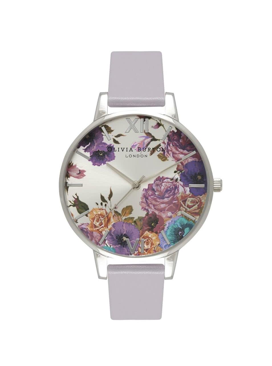 Šedé hodinky s květovaný ciferníkem Olivia Burton