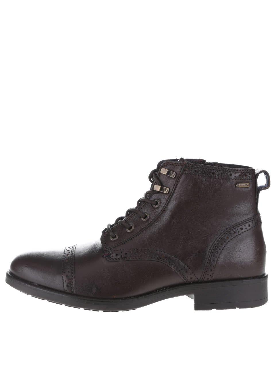 Tmavě hnědé pánské kožené kotníkové boty Tommy Hilfiger