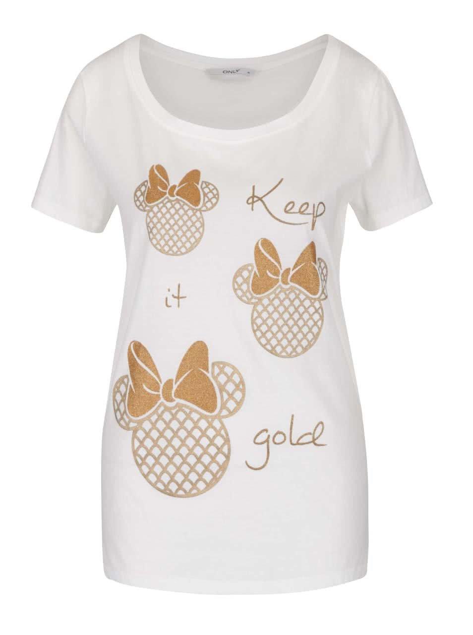 Krémové tričko s potiskem ONLY Minnie