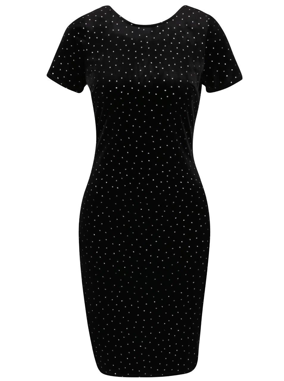 Černé sametové šaty s třpytivými detaily Dorothy Perkins