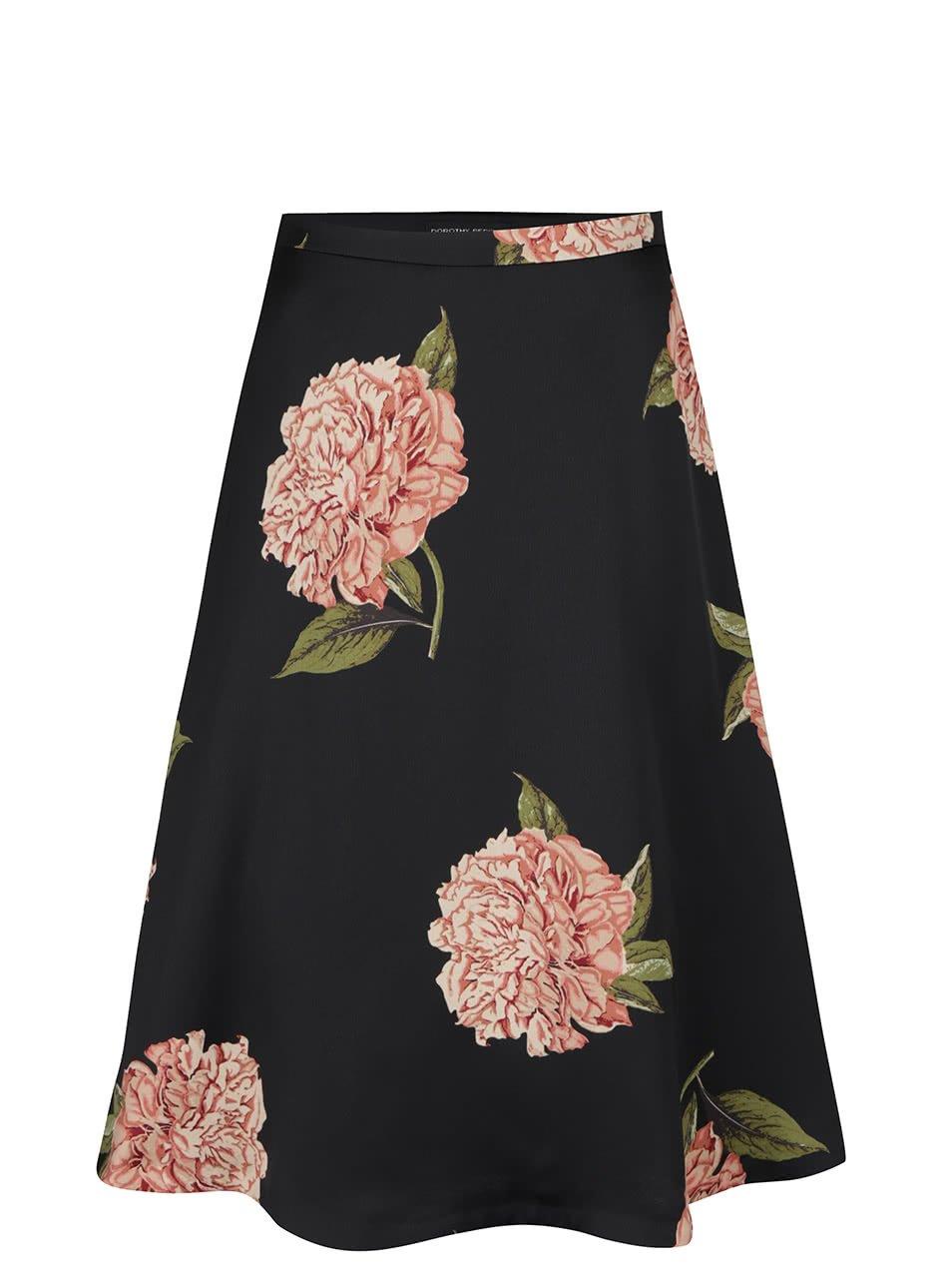 Černá květovaná midi sukně Dorothy Perkins