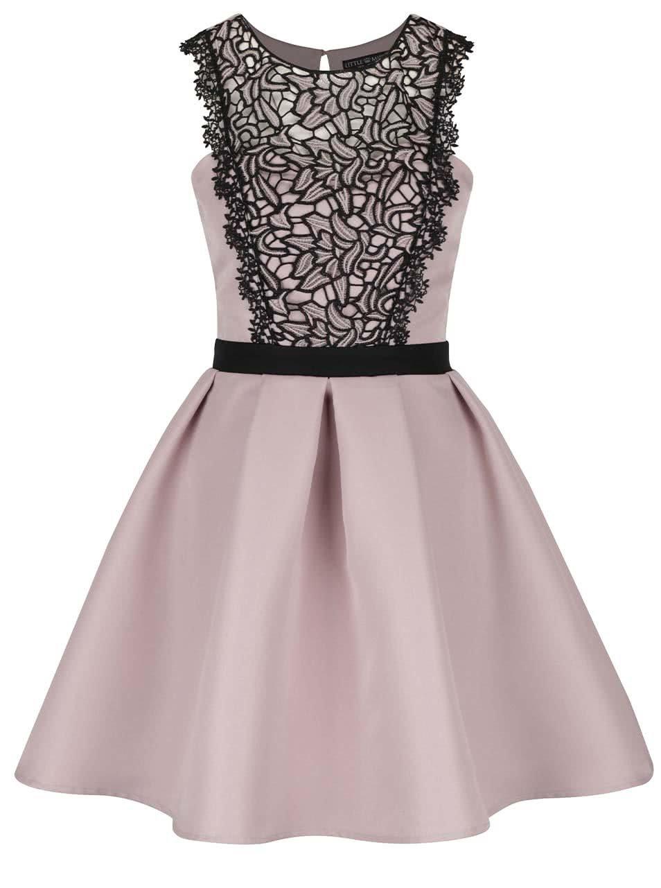 Starorůžové šaty s černým krajkovým detailem Little Mistress
