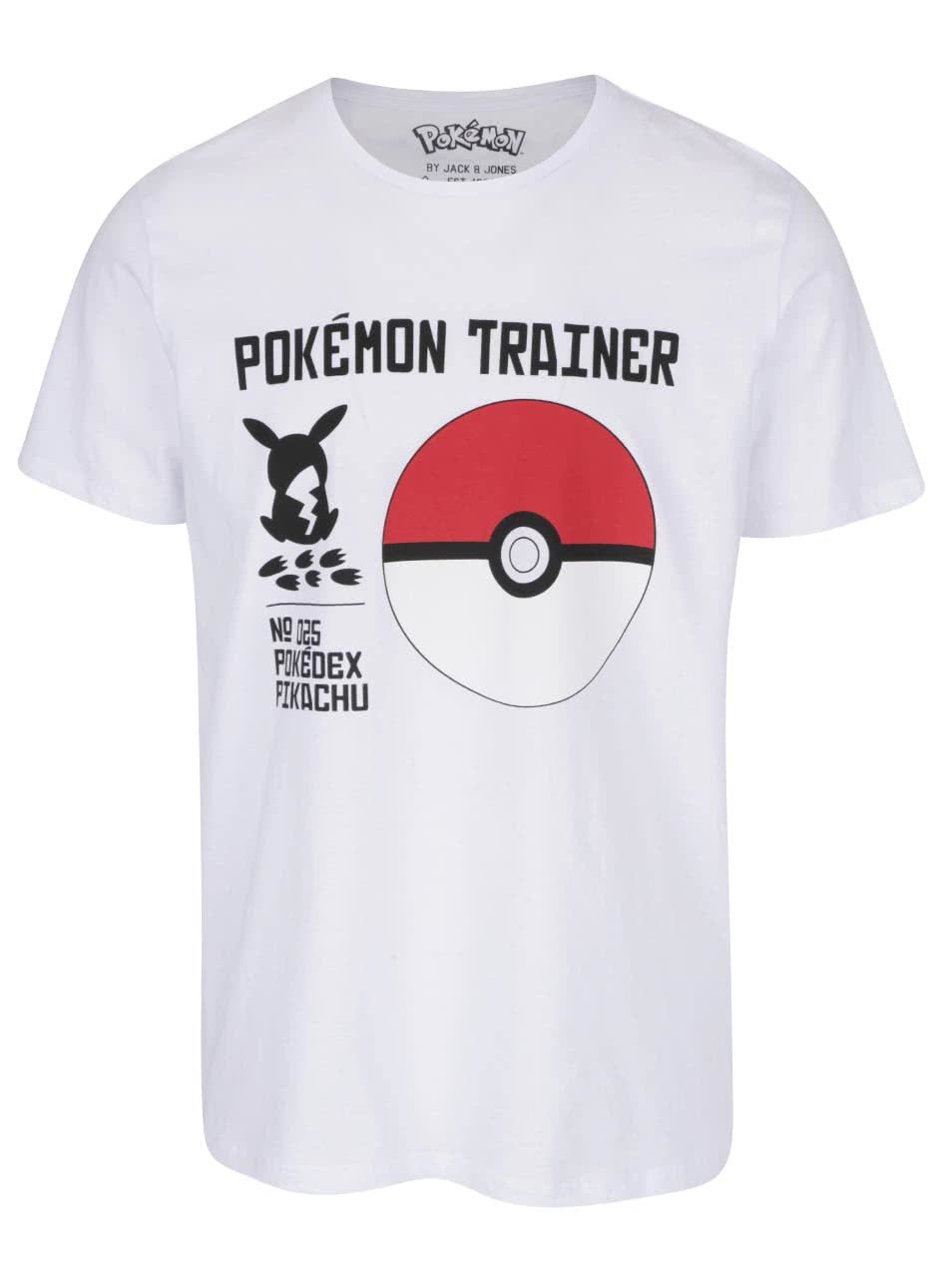 Bílé triko s potiskem Jack & Jones Pokemon