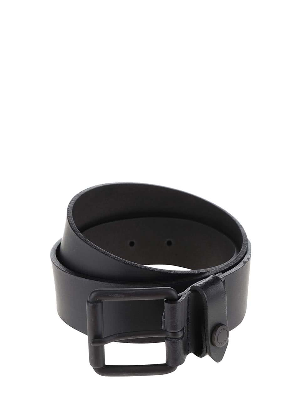 Černý kožený pásek se sponou Jack & Jones Coated