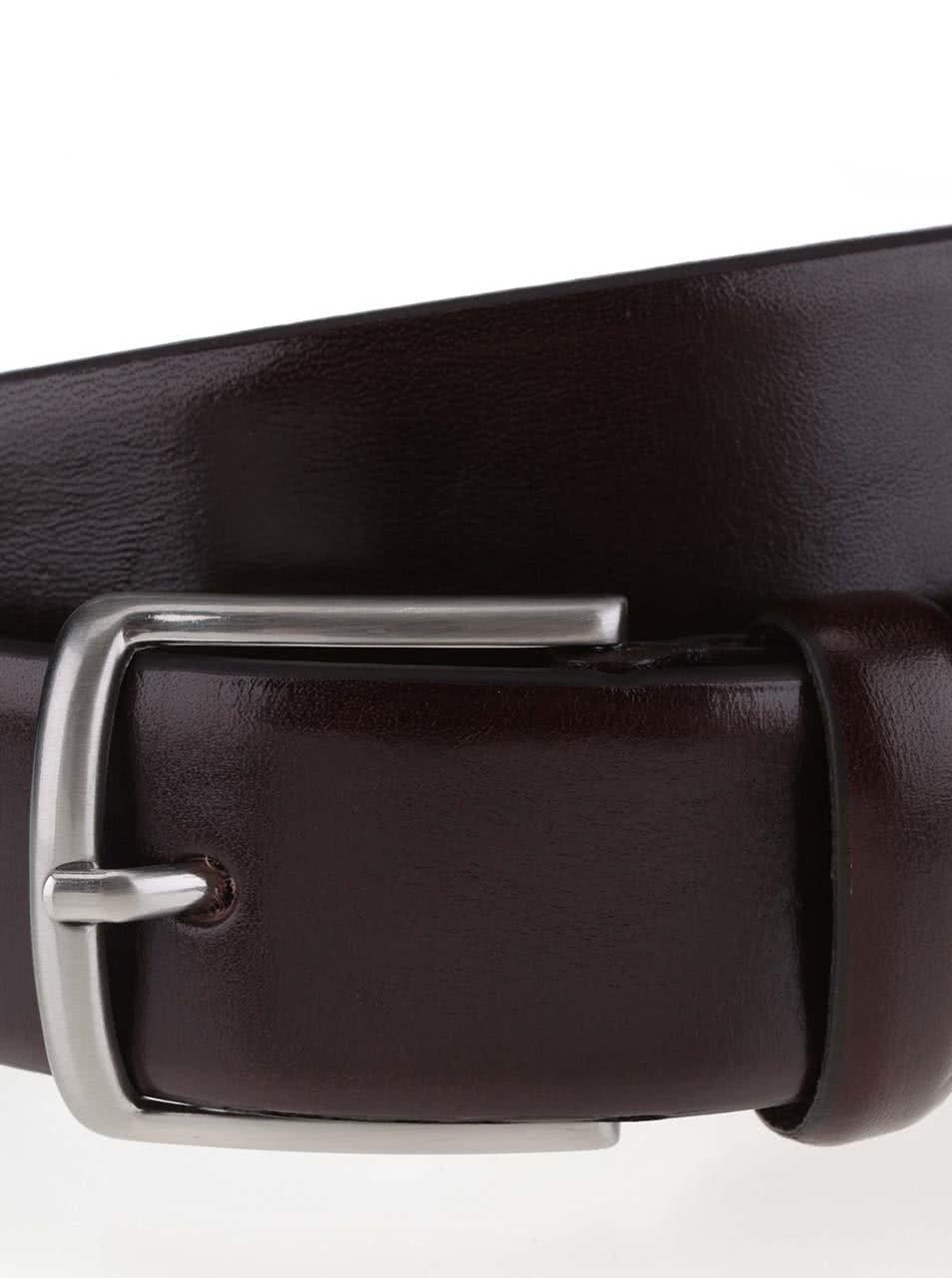 Tmavě hnědý kožený pásek Jack & Jones Domed