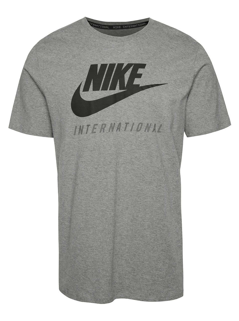Šedé pánské triko s nápisem Nike International