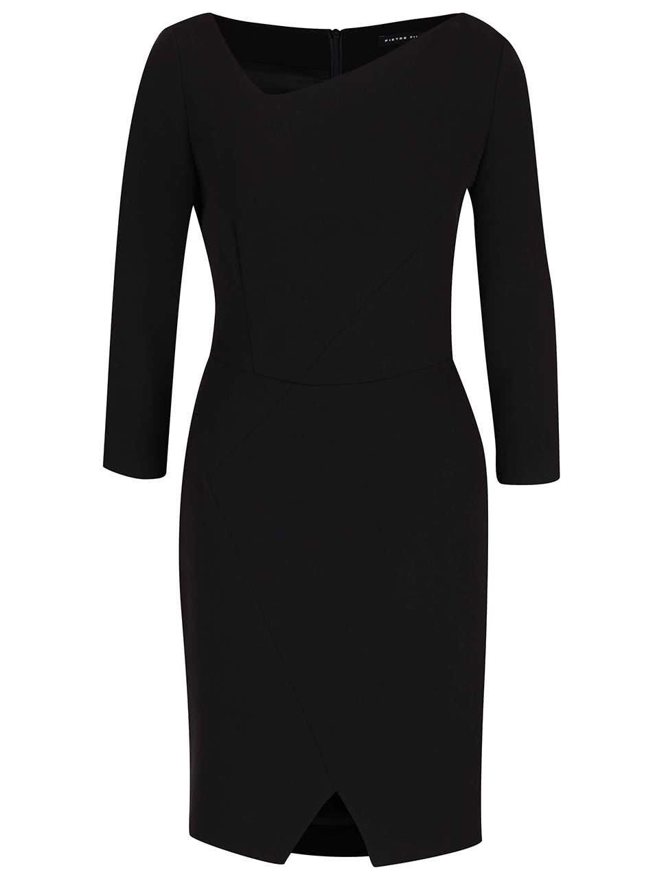 Černé šaty s asymetrickým výstřihem Pietro Filipi